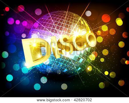 disco background with disco ball and gold lettering