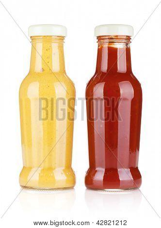 Senf und Ketchup Glasflaschen. Isoliert auf weißem Hintergrund