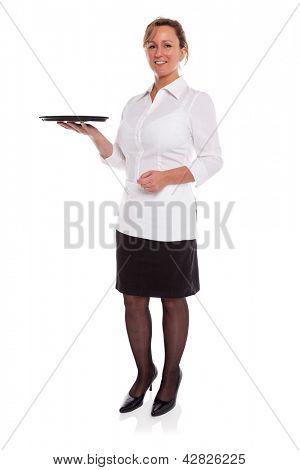 Full length photo of a waitress holding an empty tray, isolated on a white background. Suitable product placement image to add your own item.