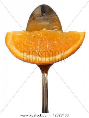 orange on the fork, diet concept