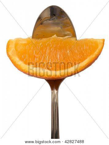 orange on the fork, diet concept