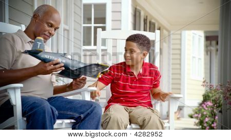 African American Grandfather Plays With Grandson 2