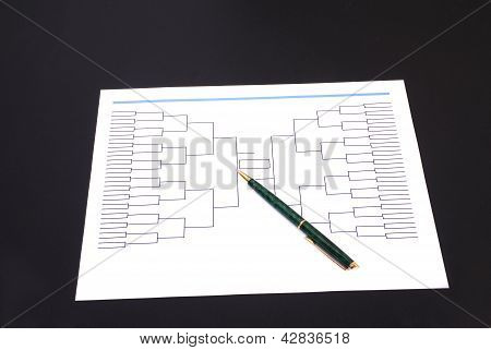 March Madness Pen And Blank Tournament Bracket