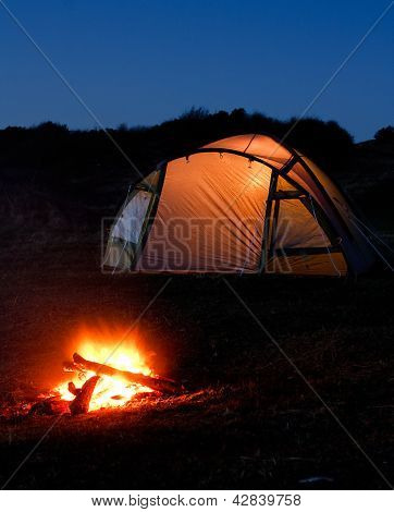 Illuminated Tent And Campfire