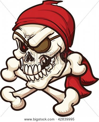 Pirate skull. Vector clip art illustration. All in a single layer.