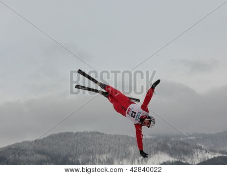 BUKOVEL, UKRAINE - FEBRUARY 23: Thomas Lambert, Switzerland performs aerial skiing during Freestyle Ski World Cup in Bukovel, Ukraine on February 23, 2013.