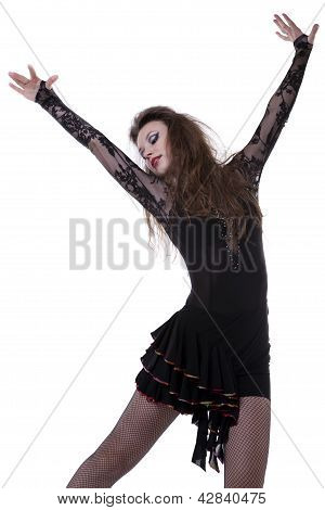 Sexy Caucasian Girl Dancing Isolated On White Background