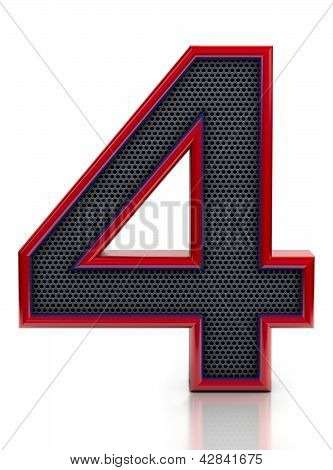Number 4 symbol with grille mesh inside isolated on white background.