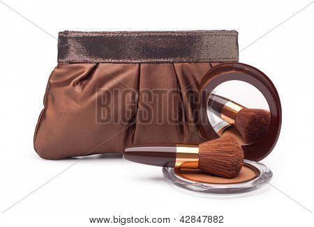 Cosmetics bag and Powder on a white background