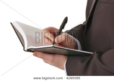 Businessman Hands Write In Notepad