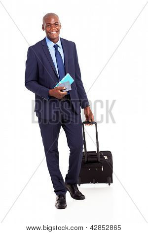 african business traveller with trolley bag and air ticket