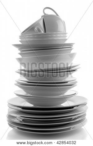 Stack of white plates and dishes