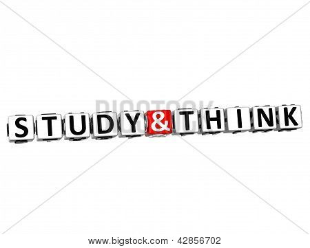 3D Study And Think Button Click Here Block Text