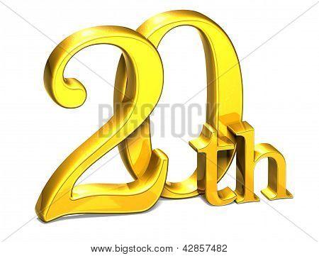 3D Gold Twentieth On White Background