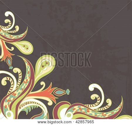 Stylised flowers on grunge background