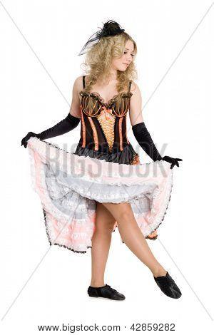 Beautiful blonde girl dancing the cancan.
