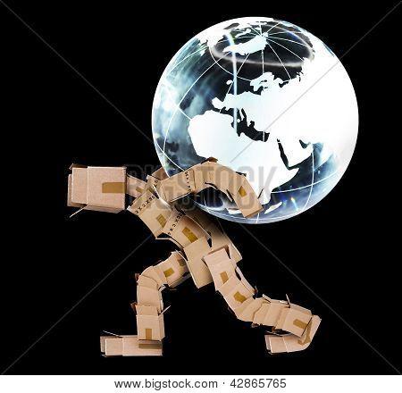 Box Man Carrying A Globe