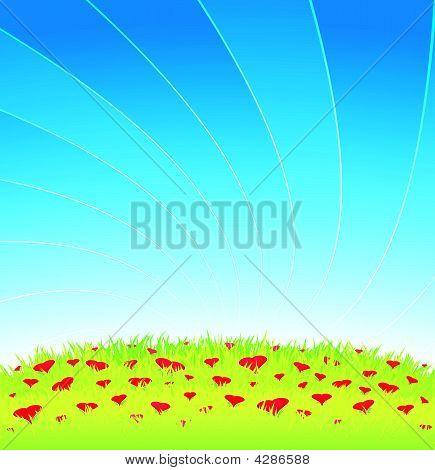 Romantic Meadow Full Of Heart Flowers