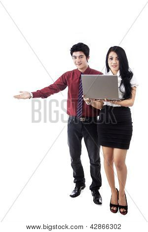 Attractive Couple Giving Presentation