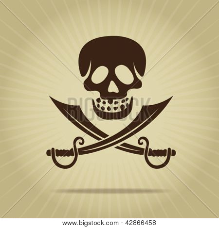 Vintage Skull with Crossed Swords