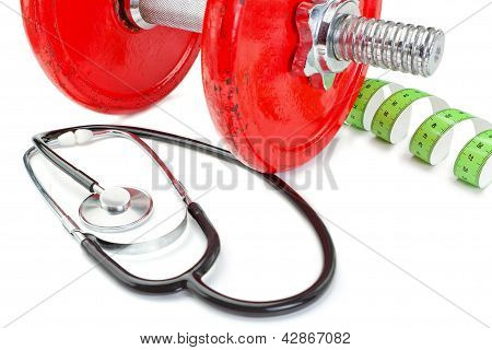 Measuring Meter, Dumbbell Fitness Near Stethoscope. On A White Background.