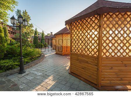Gazebo In Landscaped Garden