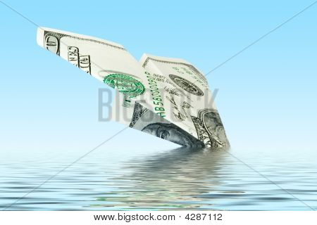 Finances Crisis. Money Plane Wreck
