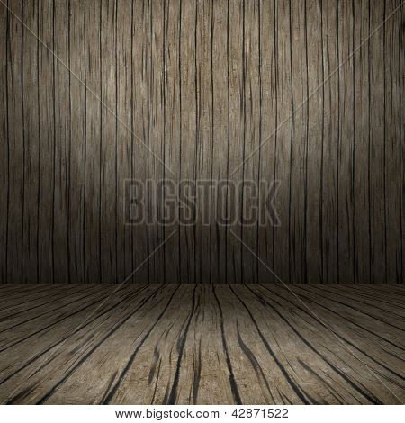 Grunge interior with wooden floor and wall useful as background