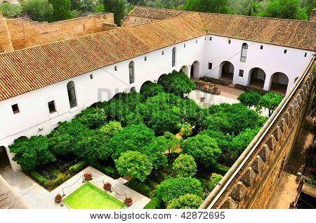 Mudejar Courtyard in Alcazar de los Reyes Cristianos in Cordoba, Spain