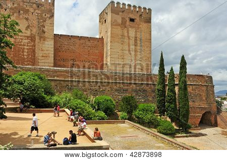 GRANADA, SPAIN - MAY 19: The Alcazaba of La Alhambra on May 19, 2012 in Granada, Spain. La Alhambra is a UNESCO World Heritage Site since 1984