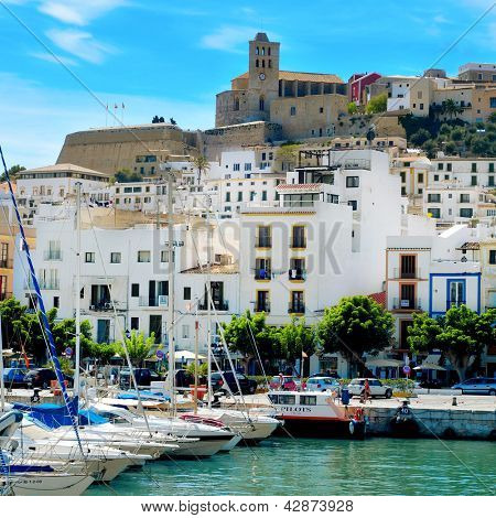 IBIZA, SPAIN - SEPTEMBER 17: Port and old town of Ibiza Town on September 17, 2012 in Ibiza, Balearic Islands, Spain. With a population of 48,484, the city is the capital of this tourist island