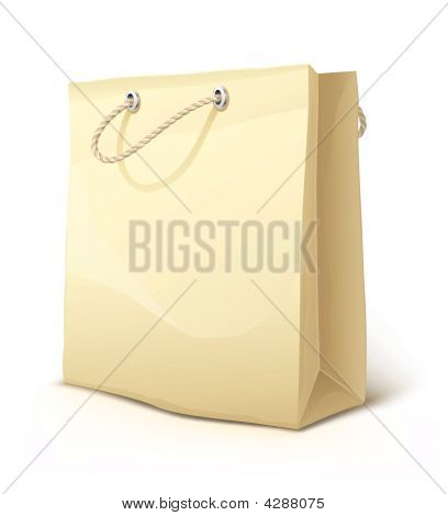 Empty Paper Shopping Bag With Handles Isolated