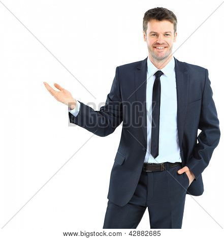 Happy business man presenting and showing with copy space for your text isolated on white background