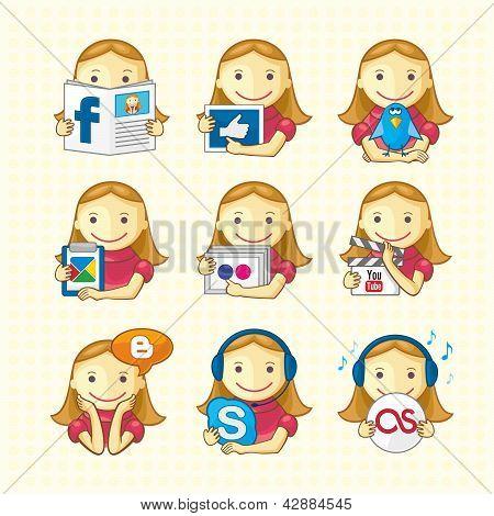 Diseño de elementos - conjunto de iconos sociales
