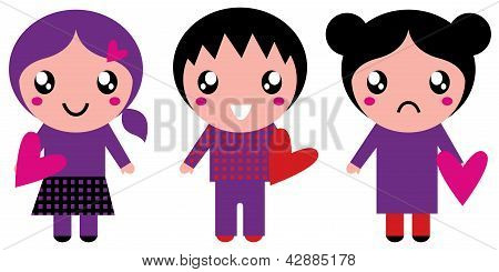 Cute Emo Kids Holding Hearts Isolated On White