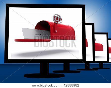 Mailbox On Monitors Shows Digital Correspondence