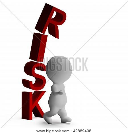 Risk And 3D Character Showing Peril And Caution