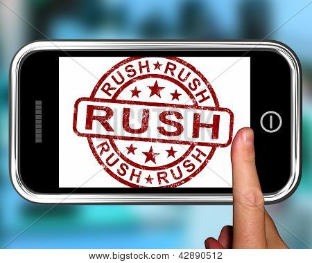 Rush On Smartphone Showing Speed