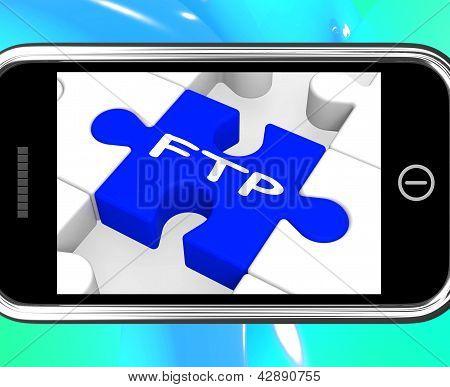 FTP no Smartphone mostrando a transmissão de dados