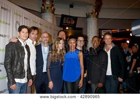 LOS ANGELES - MAR 2:  Revolution Cast, JJ Abrams, Jon Favreau arrives at the