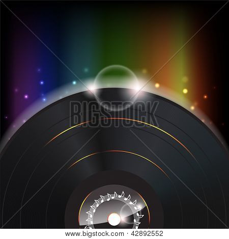 Music Background With A Glow Vinyl Plate