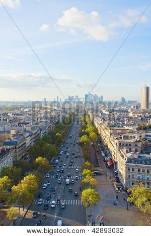 skyline of Paris and La Defense district , France
