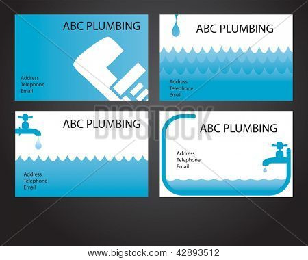 Four business card designs for plumbers and handymen
