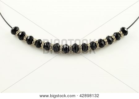 Necklace with black gems