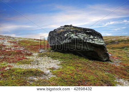 Huge rock, cliff on the ground.