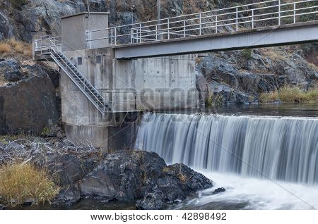 diversion dam on Big Thompson RIver in Rocky Mountains near Loveland, Colorado