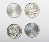 foto of japanese coin  - coin of Japanese Yen isolated on white background - JPG