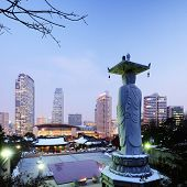 stock photo of nu  - Bongeunsa Temple in the Gangnam District of Seoul - JPG