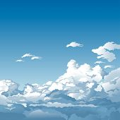 pic of blue sky  - Blue Sky With Clouds  - JPG