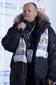 BUKOVEL, UKRAINE - FEBRUARY 23: FIS Race Director Reinhard Krampfl says the final speech during Free